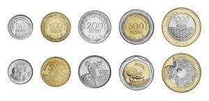 Colombia 5 PCS Coin Set 50 100 200 500 1000 Pesos 2013 - 2015 UNC BIMETAL