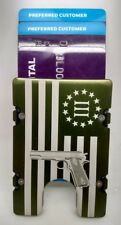 3% American Flag with Gun Aluminum Wallet/Credit Holder, RFID protection, Green