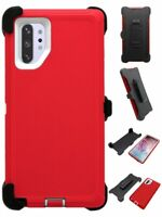 Red White For Samsung Galaxy Note 10+Plus Defender Case w/ Clip fits Otterbox