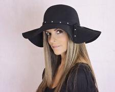 Stylish Black Wool Felt Floppy Hat