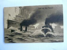 "German Military Postcard. ""Run to the enemy"" Kriegsmarine. Sea Battle"