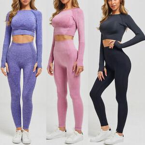Women Seamless Yoga Set High Waisted Leggings & Long Sleeve Crop Top Gym Fitness