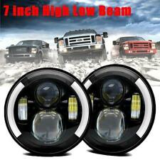 2PCS 7inch Round LED Headlight Beam Halo Angle Eye For Jeep Wrangler JK LJ TJ