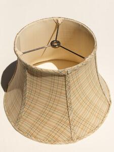 Medium Beige Checkered Cloth Bell Lamp Shade Used