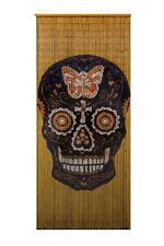 Bamboo Beaded Curtain Hand Painted-Black Skull