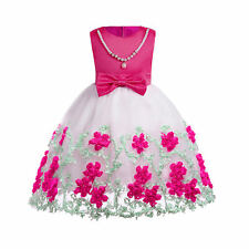 Mesh embroidered girls pearl dress multiple colour For 3-10 year old girl