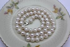 A19 41cm echte Süßwasser Perlen Schmuck Halskette Perlenkette Collier Ketten