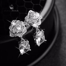 18k white gold gf made with SWAROVSKI crystal stud earrings dangle 925 silver