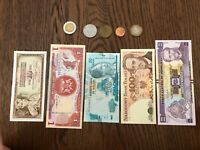 Lot of 10 banknotes & 10 coins Foreign MONEY WORLD CURRENCY