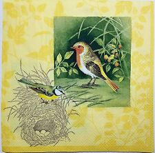 BIRDS NESTS EGGS SPRING  2 single LUNCH SIZE paper napkins for decoupage 3-ply