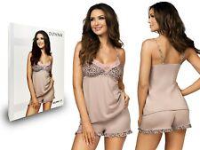 Sexy Damen Pyjama SELMA 1/2 Viskose Nachtkleid sexy Nachtwäsche Spitze Beige