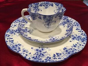 "SHELLEY ""Dainty Blue"" CUP, SAUCER , and DESSERT PLATE /  BONE CHINA/ Excellent!"