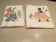 Embroidered Vintage Tea Dish Towels Pair Spanish Mexican Man Woman Dancing NICE