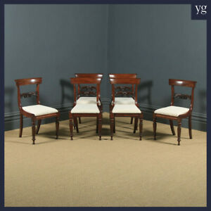 Antique English William IV Set of Six 6 Mahogany Bar Back Dining Room Chairs