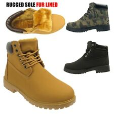 Mens Faux Leather Winter Military Warm Combat Fur Lined Worker Ankle Boots Shoes