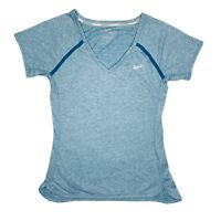 Nike Dri Fit Running Womens Blue Exercise Short Sleeve T-Shirt Size Small