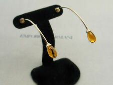 New Emporio Armani Ladies Madeira Citrine 18K White Gold Curved Earrings EG1067