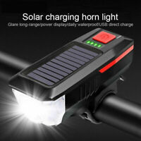 Solar Power Bicycle Headlight Horn Bell Lamp Bike Front Rear Light Rechargeable