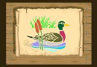 Duck swimming among Bulrushes Stencil 350 micron Mylar not thin stuff #Bird040