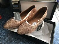 Bellissimo Shoes In Rose Gold Flats Court Shoe Dressy Design Belmetin29008 Uk 6