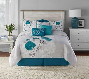 Teal Roses 7 pc Comforter Bedding Size King Set Comforter Shams Bedskirt Pillow