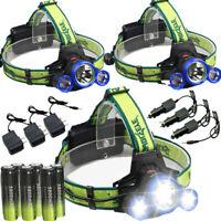 Skywolfeye Tactical 90000LMs Headlamp T6 3x LED Head light + 18650 & Charger US