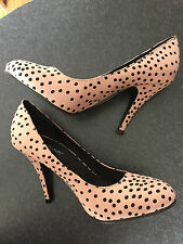 BNWT Ladies Sz 8 Anne Michelle Mocha Polka Dot Print High Heel Shoes RRP $65