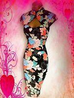 KAREN MILLEN**STUNNING FLORAL  CHINESE STYLE  COCKTAIL WIGGLE DRESS UK 12 VGC