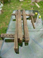 Antique Large Primitive Wooden Bench Vise Wooden Screw Handle