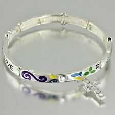 Faith Hope Love Religious Cross Charm Colorful Epoxy Stretch Bracelet #411-B