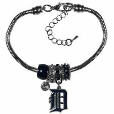 Detroit Tigers Snake Chain Bracelet with Euro Beads MLB Licensed Jewelry