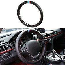 Car Steering Wheel Cover Carbon Fiber Black For BMW X1 X3 X5 X6 E36 E39 Decor