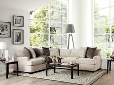NEW Modern Living Room Furniture Sofa Sectional Set in Tan Chenille Fabric ICA4