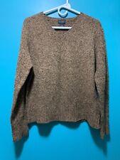One Step Up Knitwear Women's Brown Shetland Wool V Neck Sweater Sz L COZY!