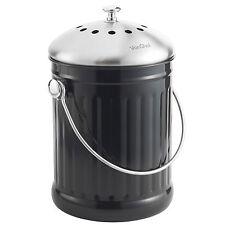 VonShef Kitchen Stainless Steel 4.5L Compost Caddy Bin & Odour Absorbing Filter