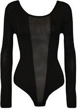 New Plus Size Womens Mesh Panel Ladies Long Sleeve Bodysuit Leotard Top