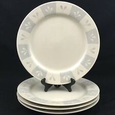 Set of 4 Dinner Plates by Sakura Port of Call COTTONWOOD Cream Gray Leaf