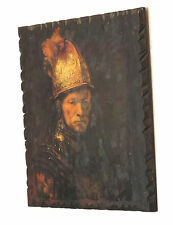 Man with Golden Helmet Rembrandt Oil Painting repro on wooden finish.