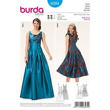 Burda Sewing Pattern 6584 SZ 6-18 womens Retro Evening dress,Pleated full Skirt.