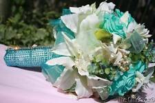 Wedding Bridal Bouquet Turquoise & White Lilies Embellishments Shabby Cottage