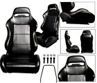 New 2 Black Yellow Stitch Racing Seats 1964-2011 All Ford Mustang Cobra