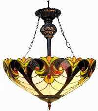"""Tiffany Style Stained Glass 18"""" Hanging Victorian Design Ceiling Pendant Light"""