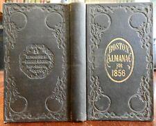 Boston Almanac Mass 1856 city map rare book advertising business directory