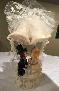 Vintage Bride and Groom Wedding Cake Topper 1960's-70's