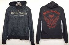 Harley Davidson Reversible Bling Graphic Hoodie Black/Red Gray/Black Animal MED