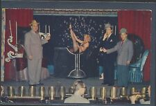 Las Vegas Early Chrome Floor Show w/ Show Girl in Wine Glass picture postcard