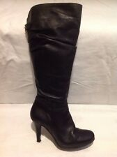 Barratts Black Knee High Leather Boots Size 5