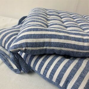 Blue Cambridge Stripe Seat Pad with Ties Luxury Cotton Large Chair Garden