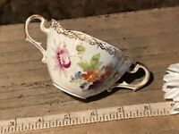 "Antique Porcelain Dresden Cup w/Double Handles Multi Floral 4 5/8""x3 1/8"" Marked"