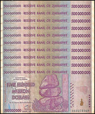 Zimbabwe 500 Million Dollars X 10 Pieces (PCS), AA/AB, 2008,P-82,Circulated,Used